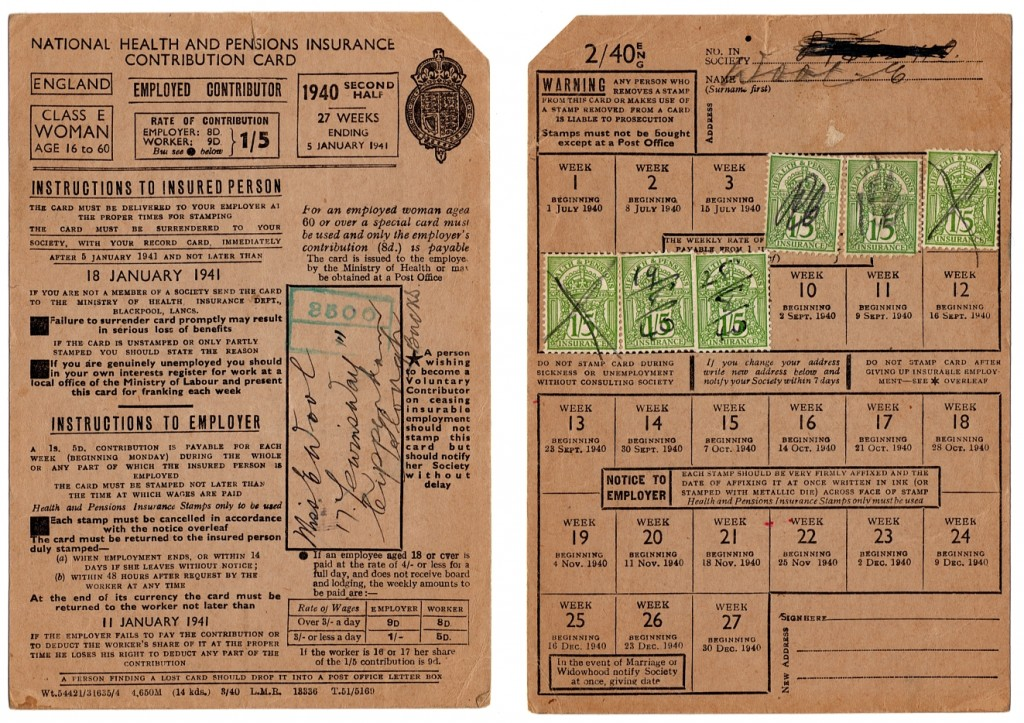 1940 National Insurance card for an employed woman.