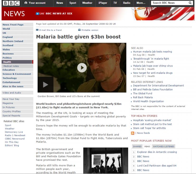 2008-09-26 Malaria Report