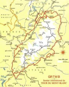Map of Tour de Mont Blanc