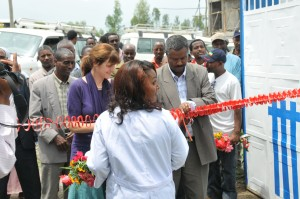 Cutting the ribboon for the new Marie Stopes clinic in Woldia