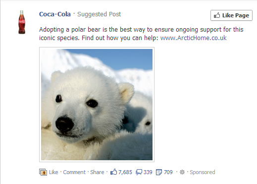 The picture says: Adopting a polar bear is the best way to ensure ongoing support for this iconic species.