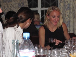 Paula Radcliffe chatting with G at Castellis