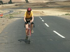 Grethe cycling to Addis