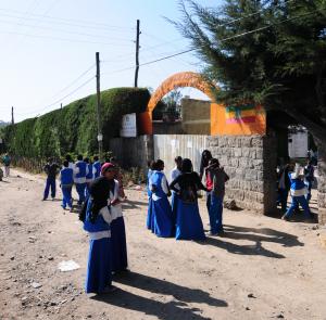 Kids going to school near Bole