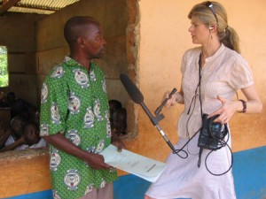 Prue Clarke and an interviewee