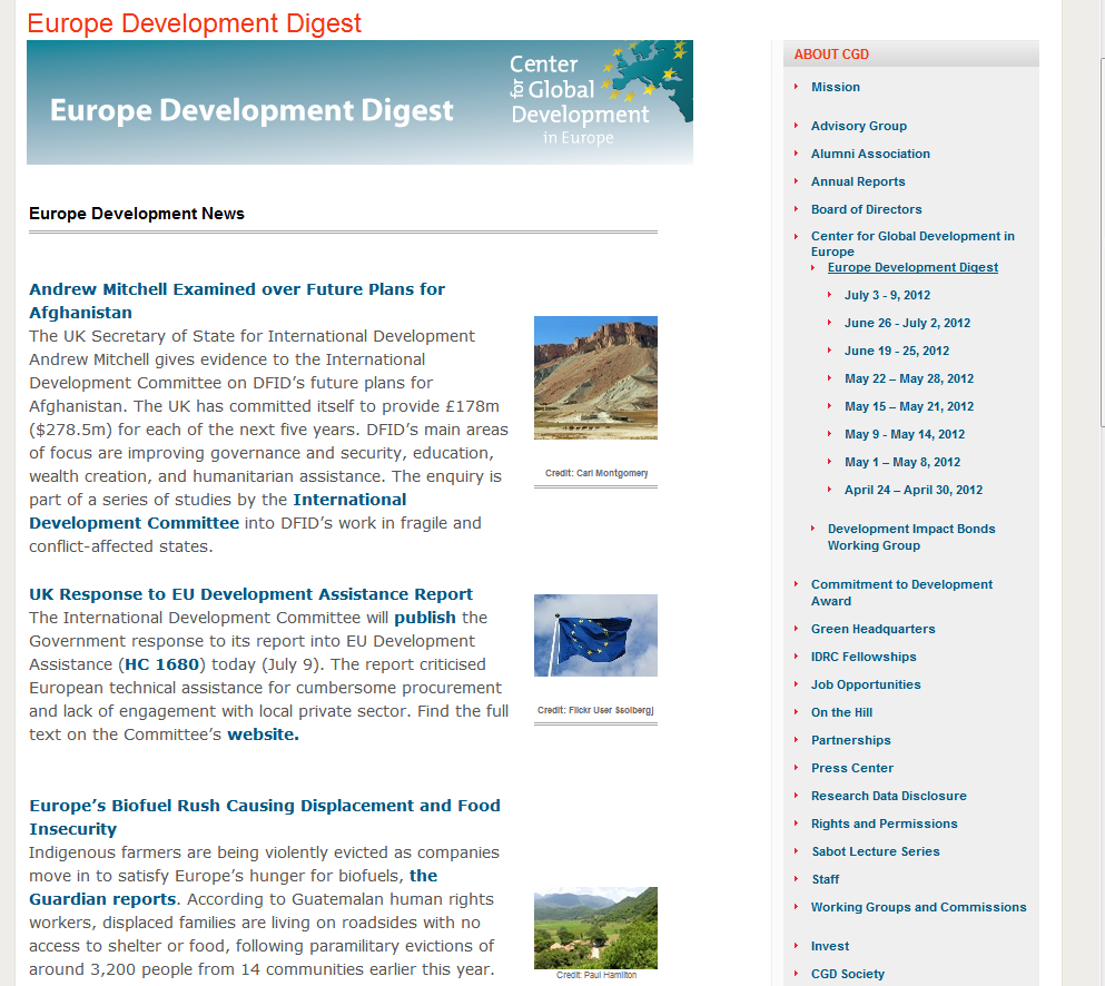Screenshot of the European Development Digest, July 2012