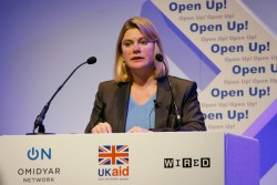 Justine Greening speaking at the DFID Omidyar Network Open Up! conference