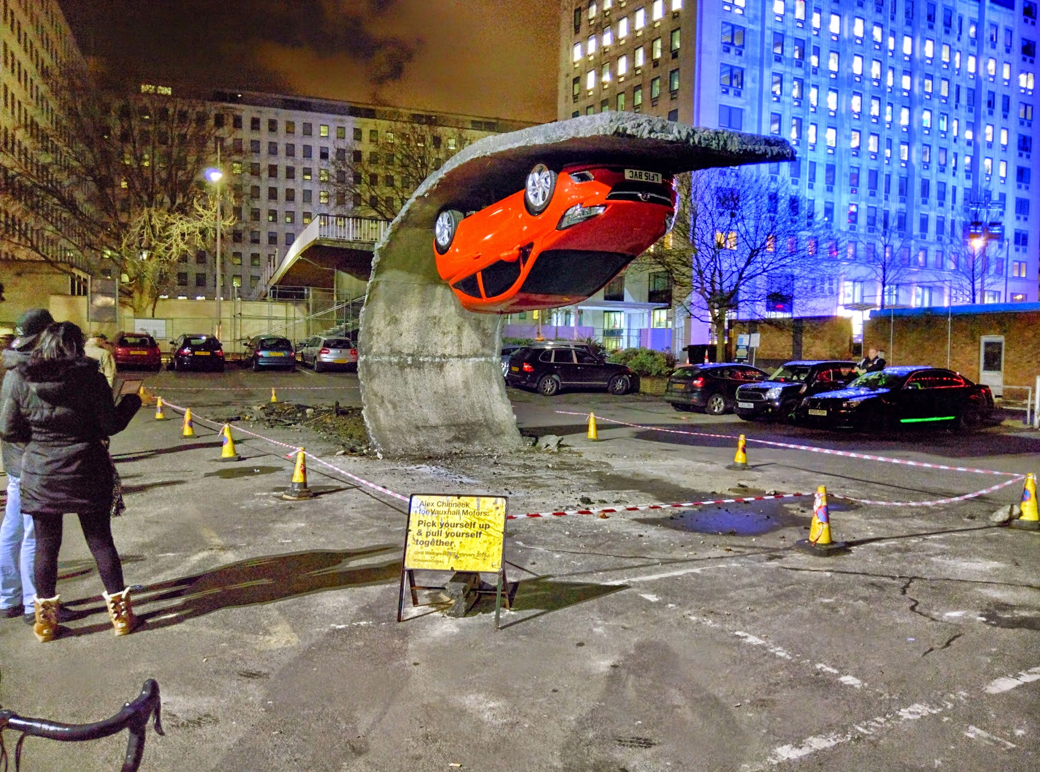 """""""Pick Yourself Up and Pull Yourself Together,"""" Installation at London's South Bank by Alex Chinneck"""