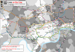 A map showing life expectancy at tube stations