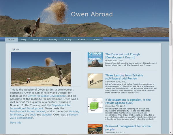 Screenshot of Owen Abroad Website
