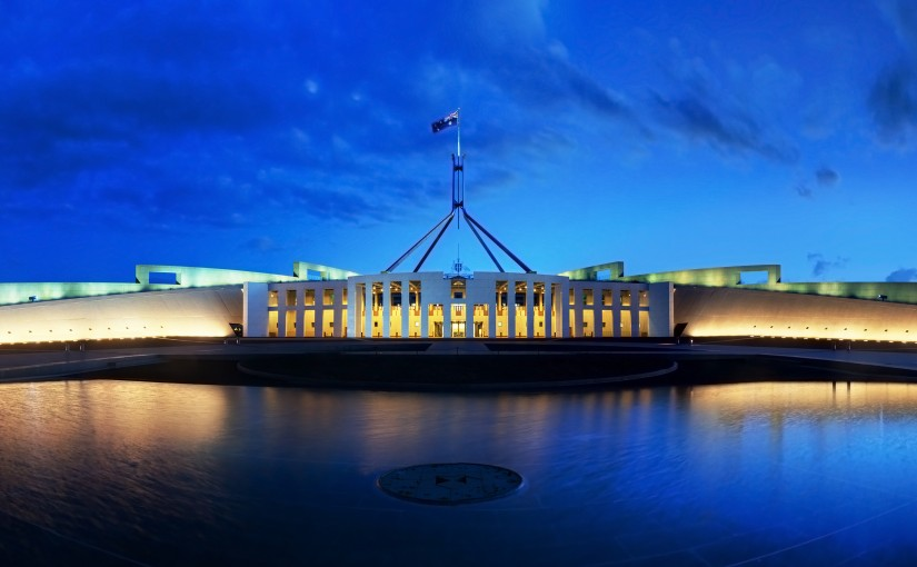 Parliament House Canberra, Australia, with a blue sky