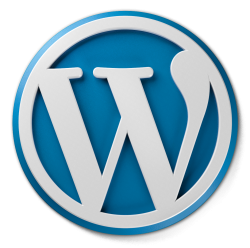 A three dimensional WordPress logo