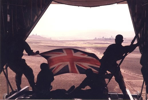 The RAF dropping food from the back of a British Hercules