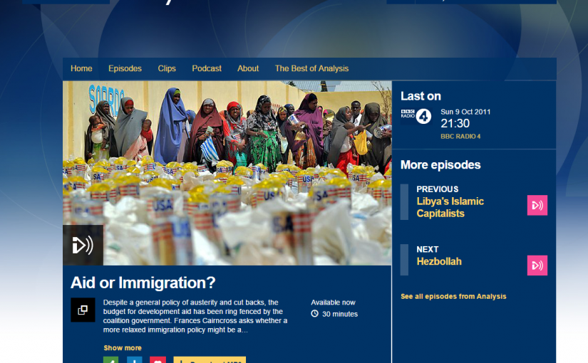 The BBC website showing the aid or immigration programme