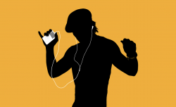 A black silouhette of a man dancing listening to an iPod against a gold-yellow backgroun