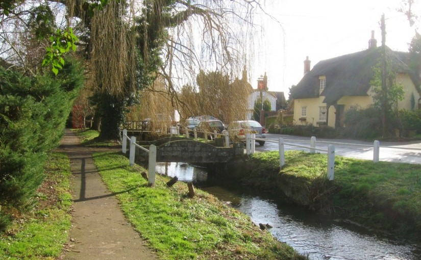 A stream flowing through the village of Arkesden in Essex