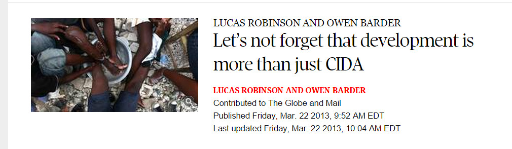 Headline on Globe and Mail article by Owen Barder and Lucas Robinson