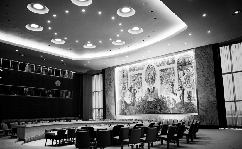 View of the Security Council chamber. This chamber, donated to the UN by Norway, was decorated by Arneberg, the mural is by Per Krogh. Besides the delegates, each council chamber accommodates 400 visitors and 120 press correspondents.
