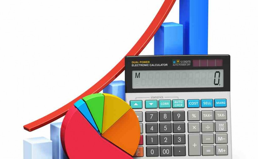 A computer generated graphic with calculator, pie chart, bar chart