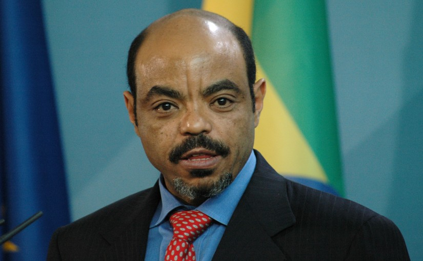 Ethiopian Prime Minister Meles Zenawi at a press conference after a meeting with the German Chancellor in the Chanclery in Berlin.