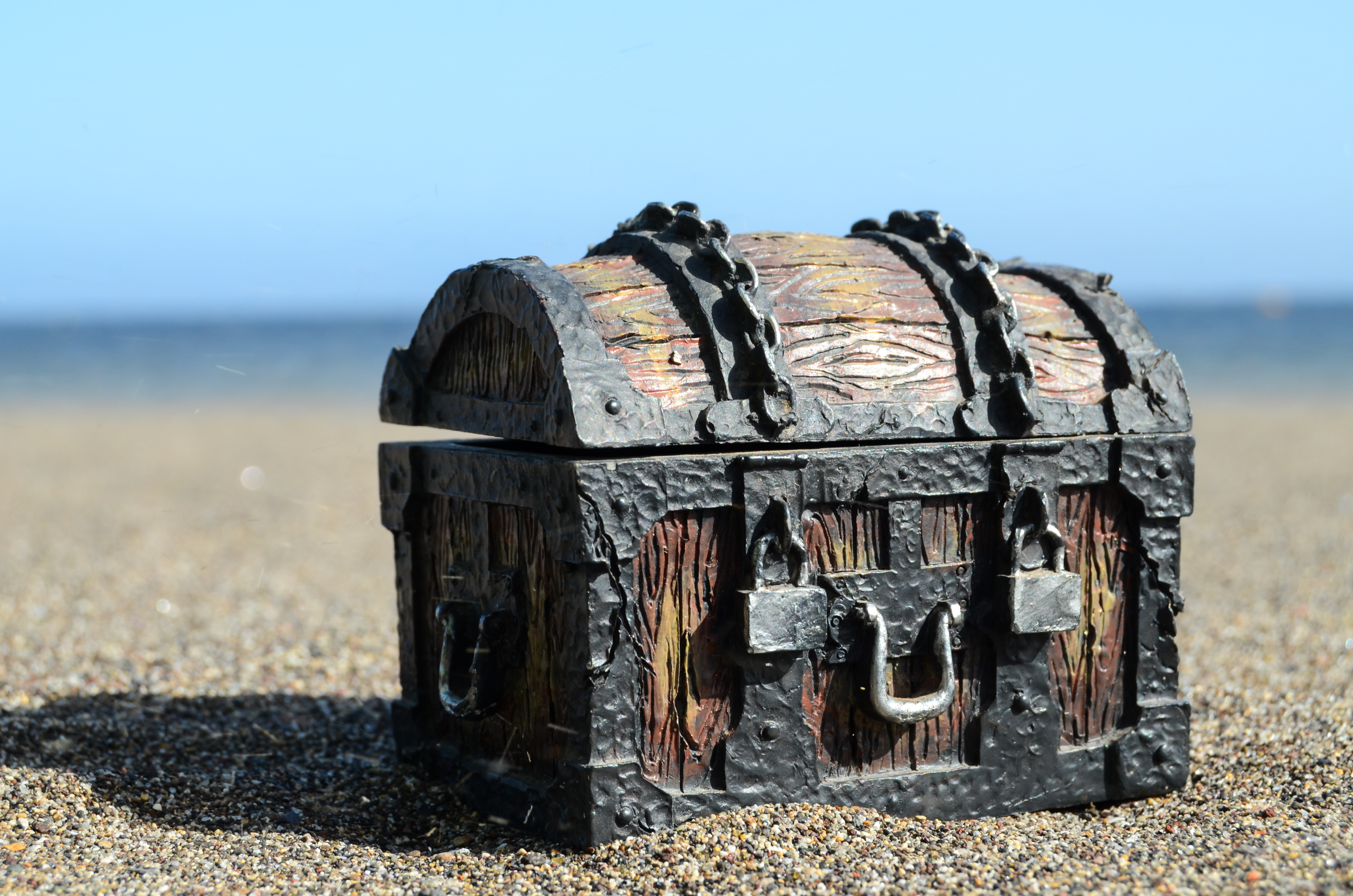 An old wooden chest on a beach