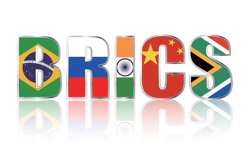 The acronym BRICS in the flags of Brazil, Russia, India, China and South Africa