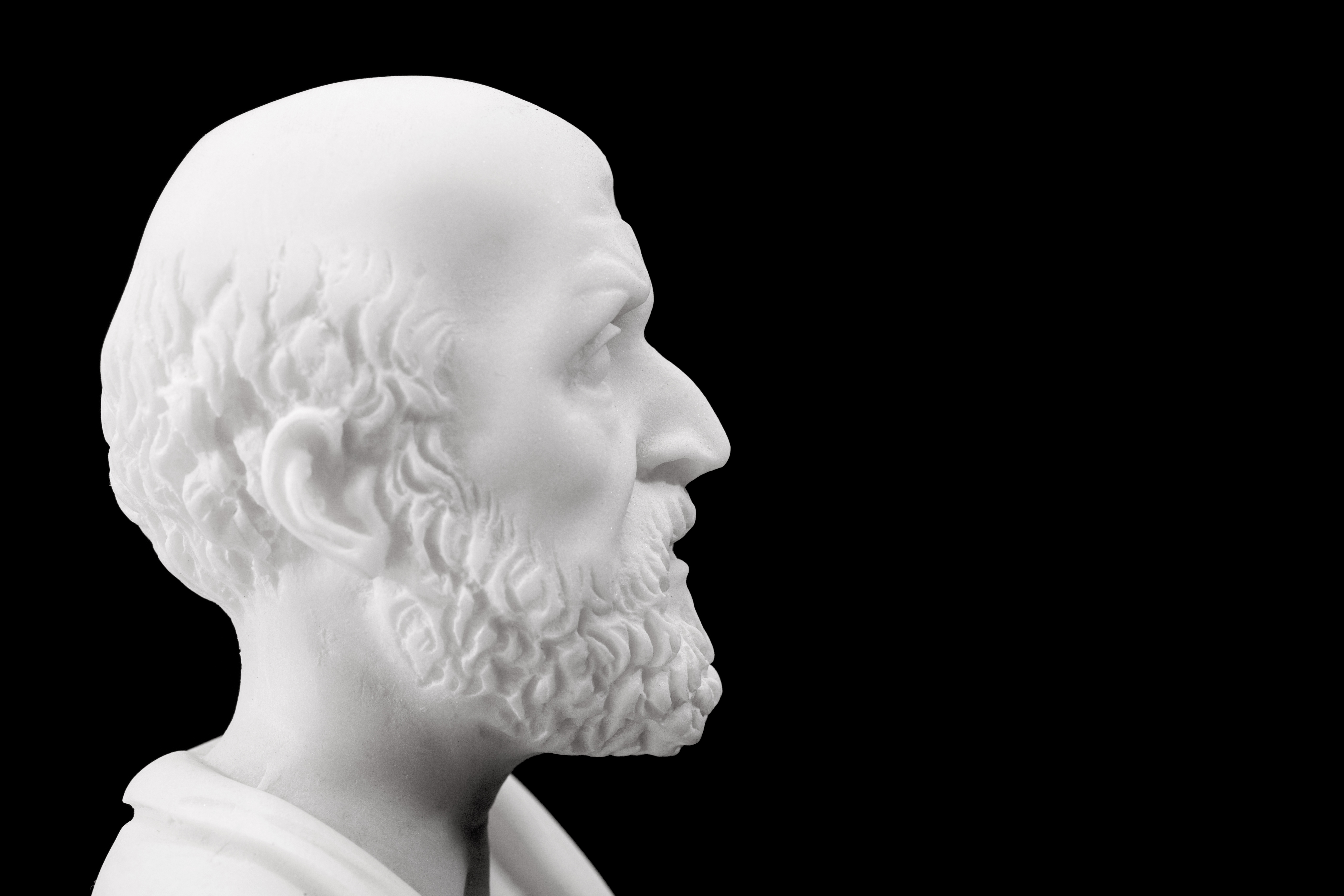 Bust of Hippocrates on black background