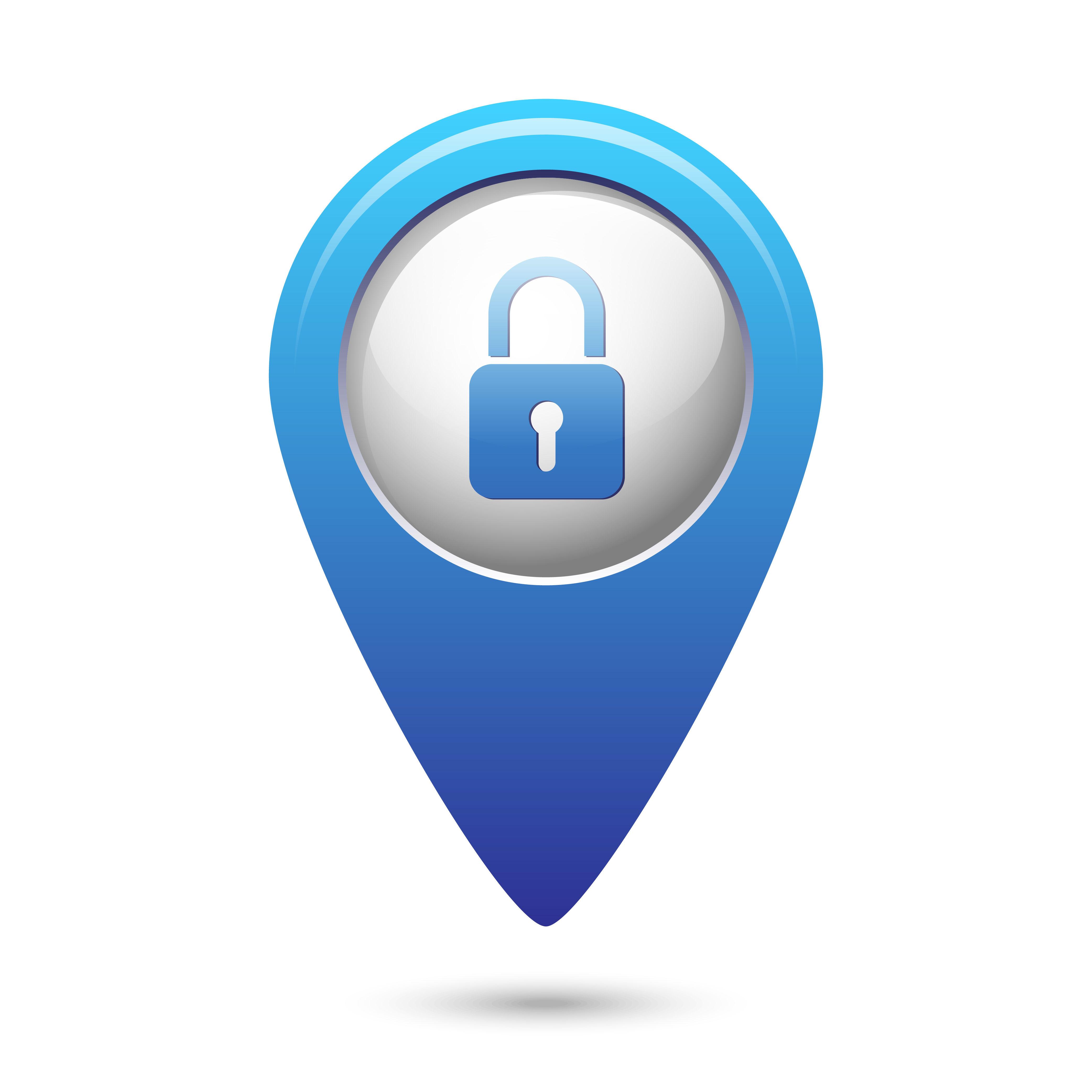 Map pointer with closed lock icon. Vector illustration