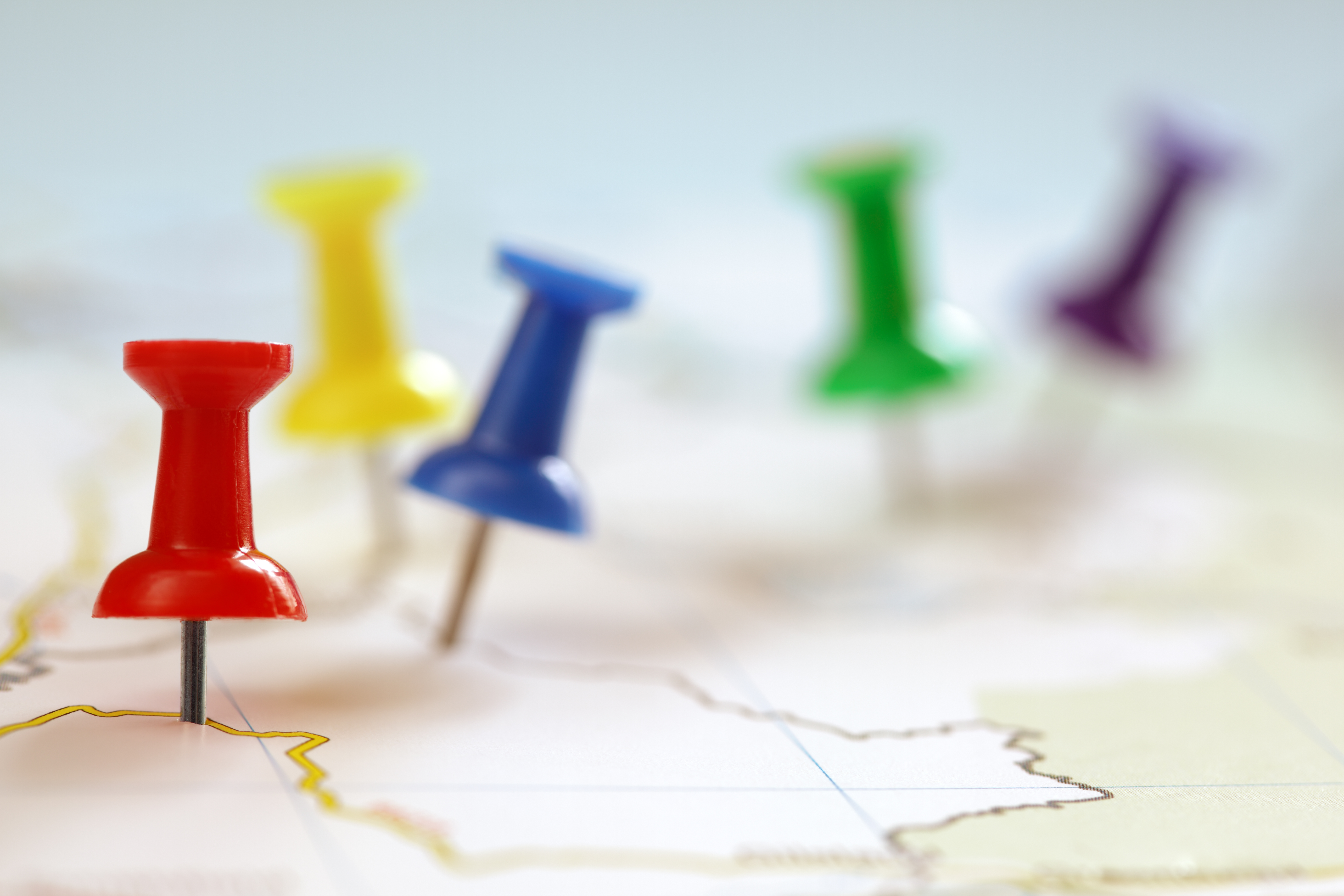 Coloured pins in a map