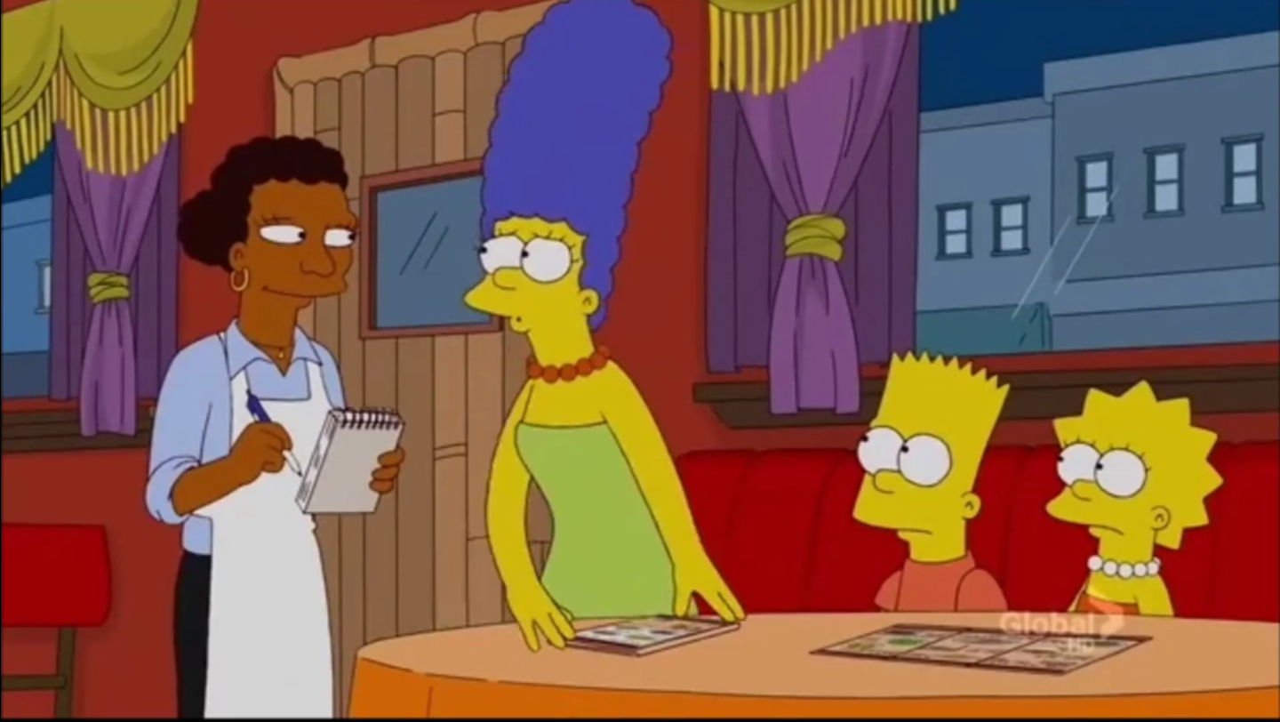 Screenshot showing the Simpsons in an Ethiopian restaurant